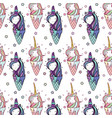 beautiful pattern head and ice cream unicorn with vector image