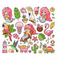 big set summer tropical stickers with kawaii vector image vector image
