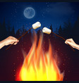 camp fire marshmallow composition vector image vector image