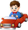 cartoon boy riding a car vector image vector image
