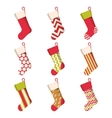 Christmas stocking set isolated on white vector image