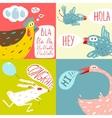 Colorful Fun Cartoon Domestic Animals Greeting vector image vector image