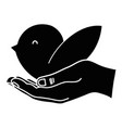 contour hand with natural bird dove animal with vector image vector image