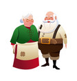 Cute couple mr and mrs santa claus traditional vector image
