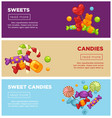 delicious sweet candies promotional internet vector image vector image