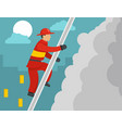 firefighter on stairs concept flat style vector image vector image