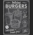 grunge chalkboard fast food menu template 4 vector image vector image