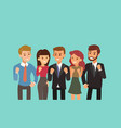 happy business team with fist up gesture teamwork vector image vector image