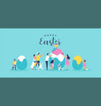 happy easter family people painting egg card vector image vector image