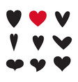 heart icon set set isolated on white vector image