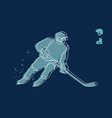 hockey player line drawing man ready for a shot vector image