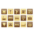 hotel and motel icons over brown background vector image vector image