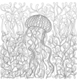 jellyfish medusa in entangle style hand drawn sea vector image