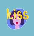 kiss sticker social media network message badges vector image vector image