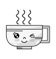 line kawaii cute funny coffee cup vector image vector image