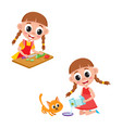 little girl cooking salad and giving milk to cat vector image vector image