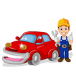 mechanic cartoon with car for you design vector image