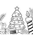 merry christmas pine tree design vector image vector image