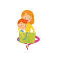 mother with her son sitting on floor and reading vector image