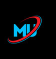 mu m u letter logo design initial letter mu vector image vector image
