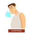 person experiencing shortness breath symptom vector image vector image