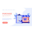 purchase agreement concept landing page vector image vector image