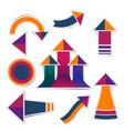 retro paper arrow stickers with shadows vector image vector image