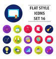 school set icons in flat style big collection vector image