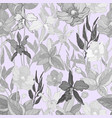 seamless pattern with flowers and exotic plants vector image vector image