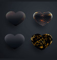 set of beautiful textured black 3d glossy heart vector image vector image