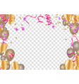 set of pink white transparent with confetti vector image vector image