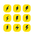 set of the bolts of lightning minimalistic vector image