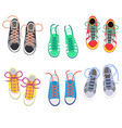 shoelaces on snickers shoestring or shoe vector image