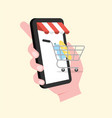 shopping cart comes out smartphone vector image