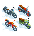 sport bikes isometric 3d pictures various vector image vector image