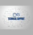 technical support concept with business doodle vector image
