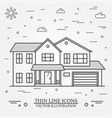 thin line icon suburban american house vector image vector image