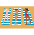 Three girls sunbathing vector image vector image