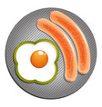 two fried sausages and one egg with green paprika vector image