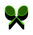 two tennis racket sign green 3d icon with vector image vector image