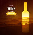 wine bottle with landscape tuscany vector image vector image