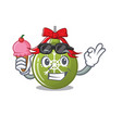 with ice cream christmas ball green isolated the vector image vector image