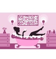 woman relaxing in bath foam vector image vector image