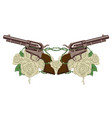 two big old revolvers white roses and barbed wire vector image
