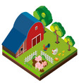 3d design for barn scene with many animals vector image vector image