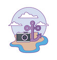 anchor marine with camera photography in beach vector image vector image