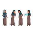 arab muslim teen girl set face office vector image vector image
