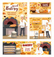 bakery shop bread pizza and baker pastry cakes vector image vector image