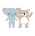 bashower cute elephant and bear cartoon vector image vector image