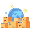 box and globe symbol for worldwide delivery vector image vector image